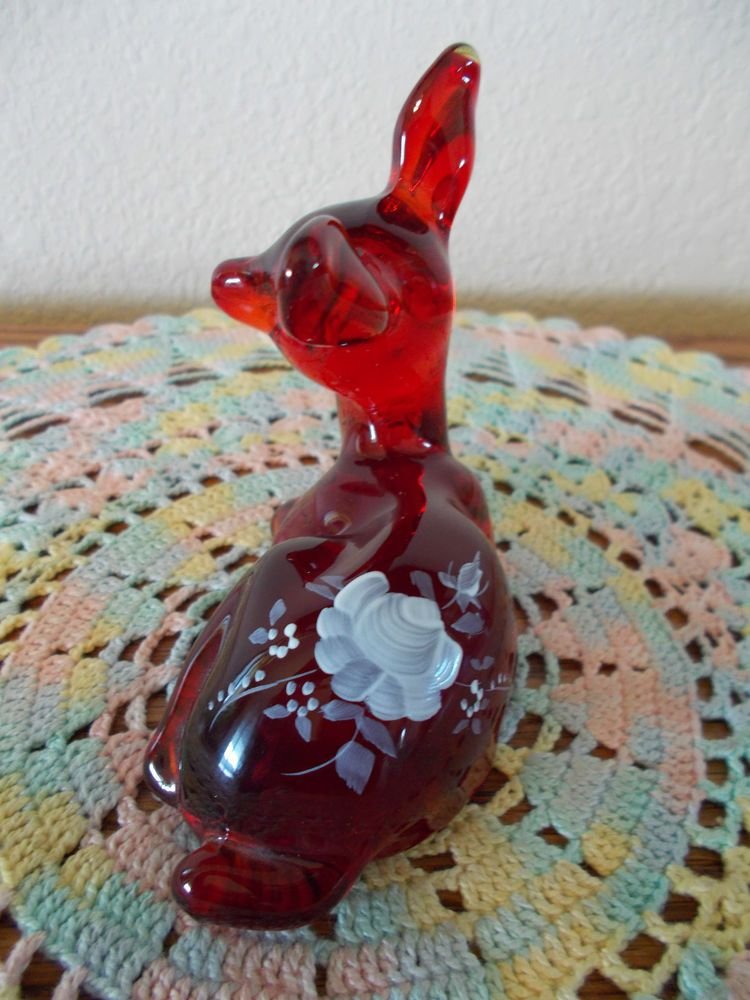 Bunny Figurine Signed By Artist Blue Satin Hand Painted Roses Fenton