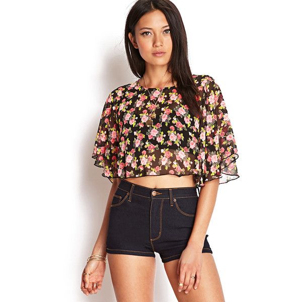 Forever 21 Women's  Flutter Sleeve Floral Crop Top ($12) ❤ liked on Polyvore featuring tops, outfits, forever 21, crop top, flutter-sleeve top, flounce crop top e woven top