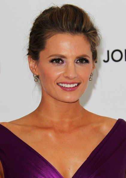 Stana Katic Braided Updo - Stana Katic looked very sophisticated wearing this braided updo during Elton John's Oscar-viewing party.