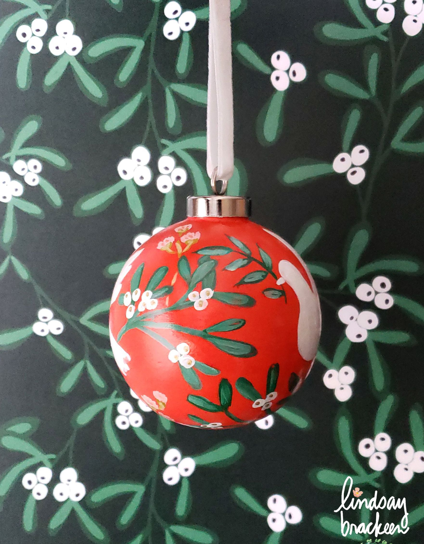 Red Mistletoe Dove Bespoke Ornament By Lindsay Brackeen Paper Christmas Decorations Christmas Globes Hand Painted Bauble