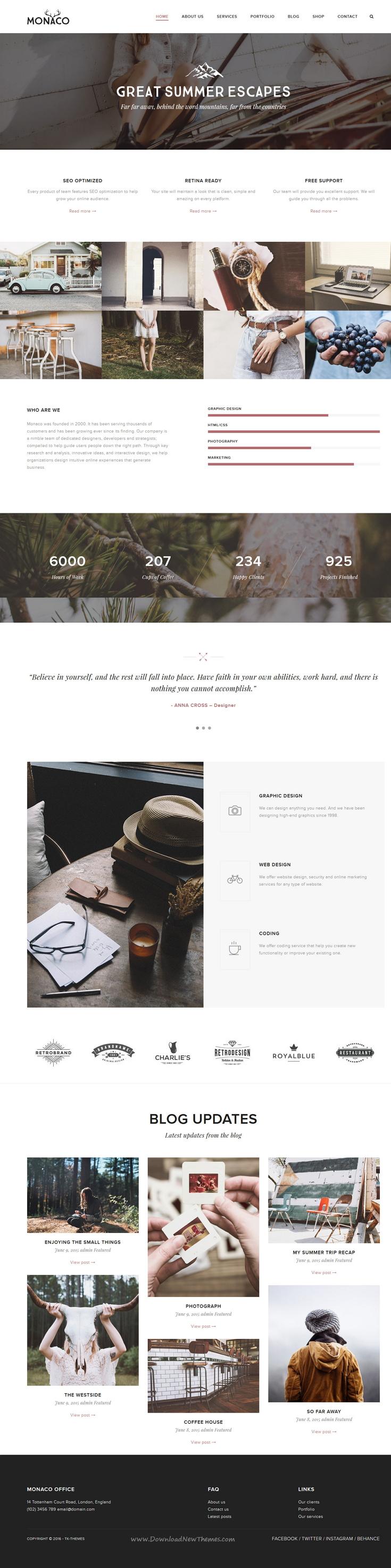Monaco – Vintage Multi-Concept HTML Template | Monaco, Template and ...