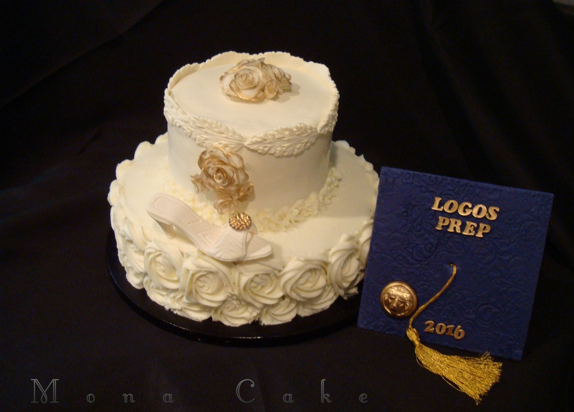 Graduation cake with the hat removed to reveal roses on top Custom