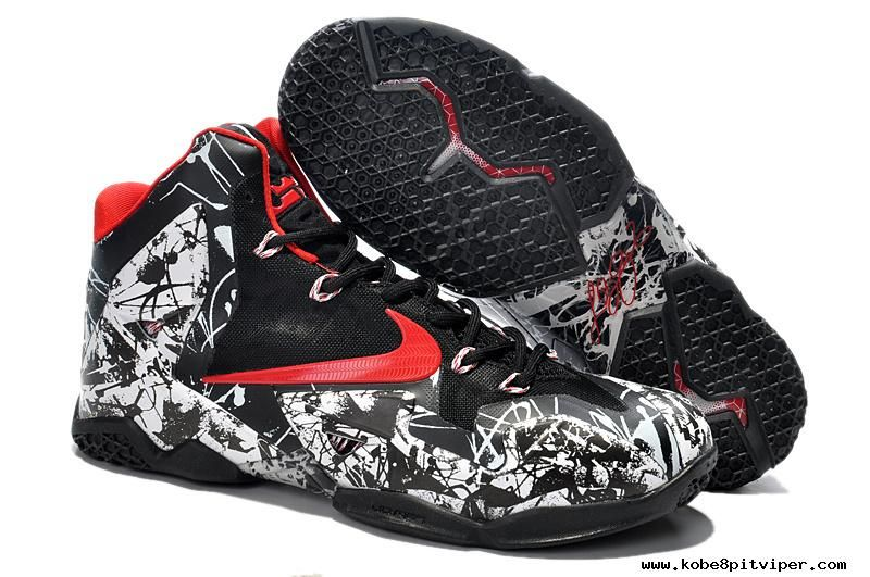 White/Black/Red Nike LeBron 11 Graffiti