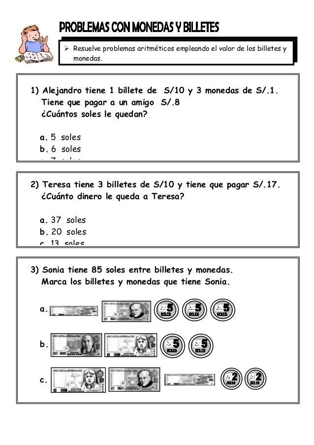 Resuelve Problemas Aritméticos Empleando El Valor De Los Billetes Y Monedas 1 Alejandro Tiene 1 Bil Problemas Matemáticos Matematicas Primaria Matematicas