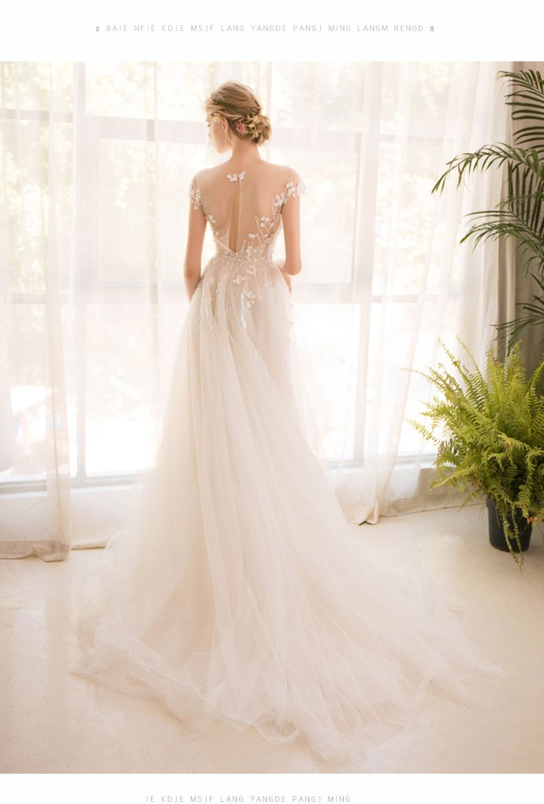 209e5e70220 O-Neck Embroidered Organza Tulle Beach Wedding Dress - Uniqistic.com