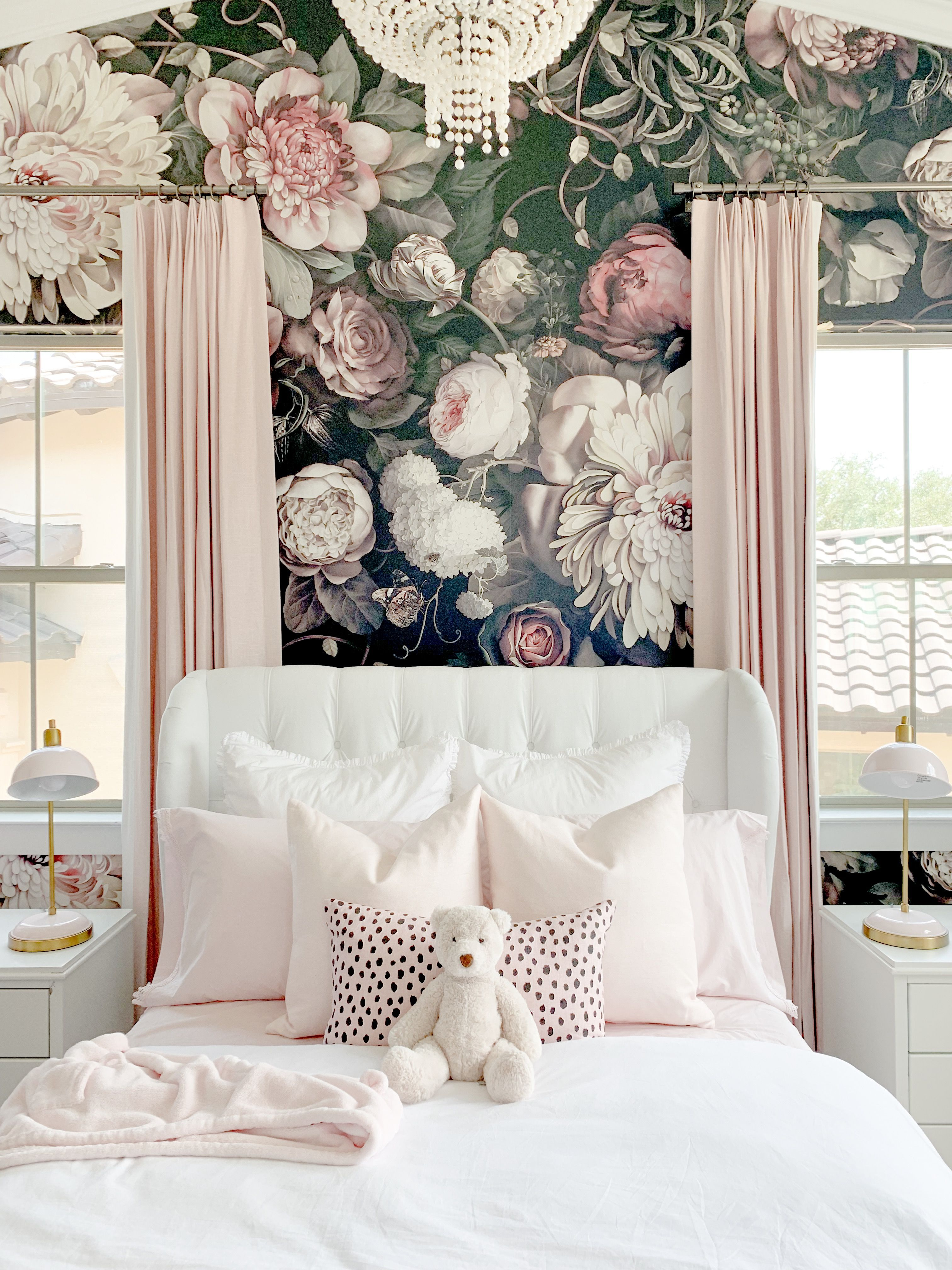 Blush Pink Bedroom With Floral Wallpaper A White Tufted Velvet