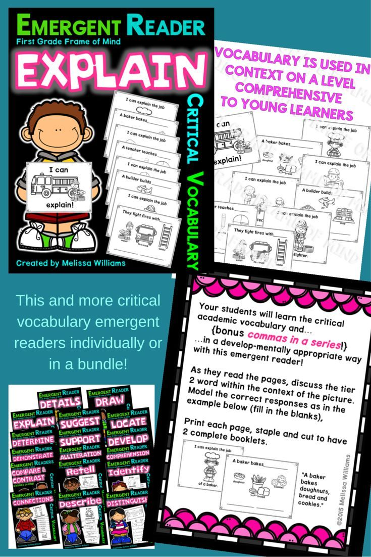 Meet two standards in one lesson! Teach 1) the vocabulary EXPLAIN along with 2) commas in a series with this emergent reader! Students complete the text with sentence writing with commas by copying the labels from pictures. Available in a bundle with othe