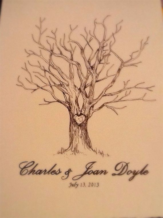 sale 11x14 hand drawn fingerprint family guest trees wedding nursery baby shower engagement party tree trunk
