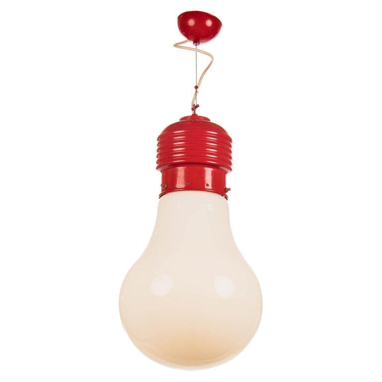 Oversized Mid Century Modern Pop Art Glass Bulb Pendant Light