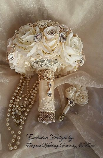 VINTAGE BROOCH BOUQUET Deposit For A Cascading Pearl Blush Ivory Rose Gold Brooch Bouquet Jeweled