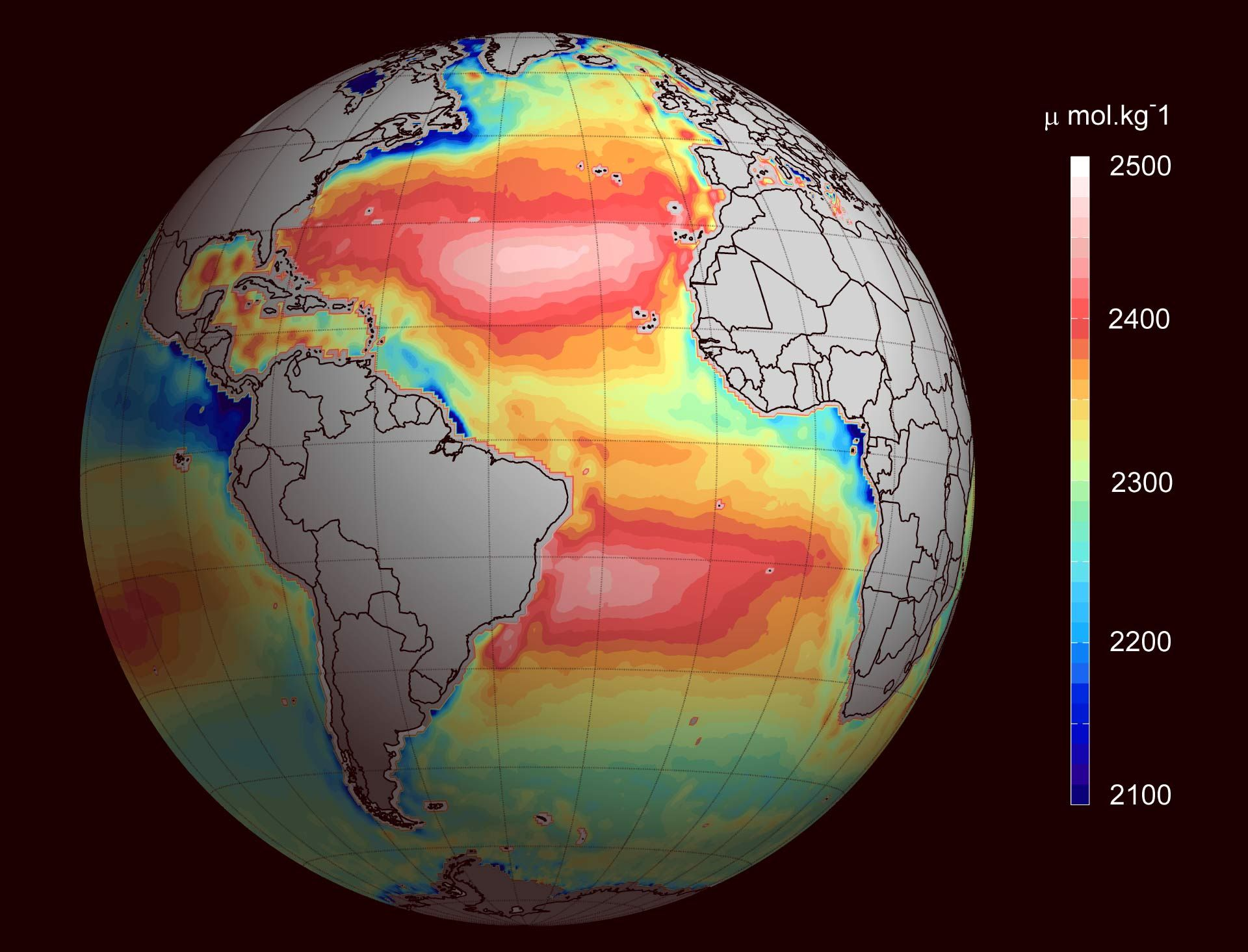 Temperature and salinity measurements averaged between 2010 and