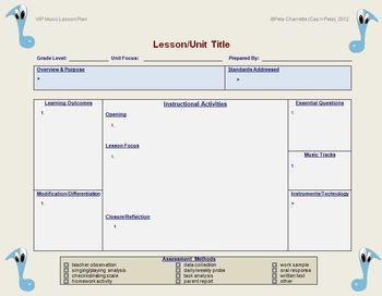 Lesson Plan Template Music Editable  Lesson Plan Templates