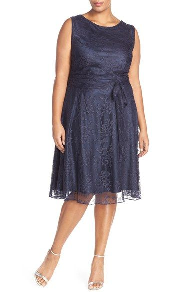 Tahari Shimmer Lace Fit & Flare Dress Plus Size available at