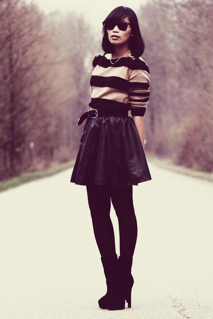Stripes + black skirt