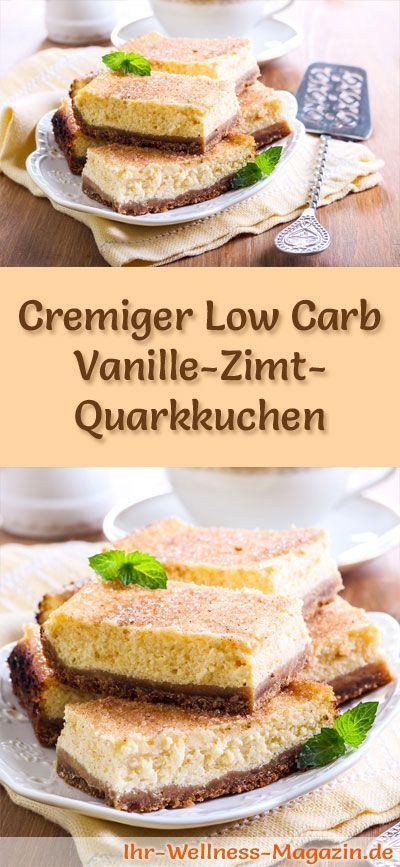 Rezept für einen cremigen Low Carb Vanille-Zimt-Quarkkuchen - kohlenhydratarm, kalorienreduziert, ohne Zucker und Getreidemehl