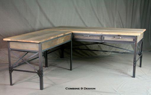 Custom Made Vintage Industrial L Shaped Desk Steel And Reclaimed Wood Office Furniture Desk With R Wood Office Furniture L Shaped Desk Cheap Office Furniture