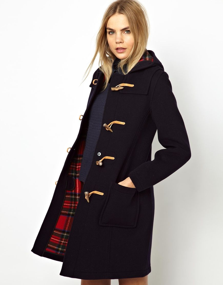 Women's Blue Gloverall Slim Duffle Coat in Wool with Check Lining ...