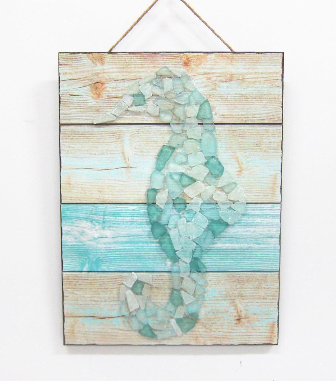 Escape To Paradise Wood And Sea Glass Wall Decor Seahorse