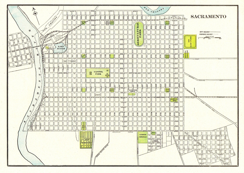 1901 Antique SACRAMENTO CITY Map Reproduction Print of Sacramento