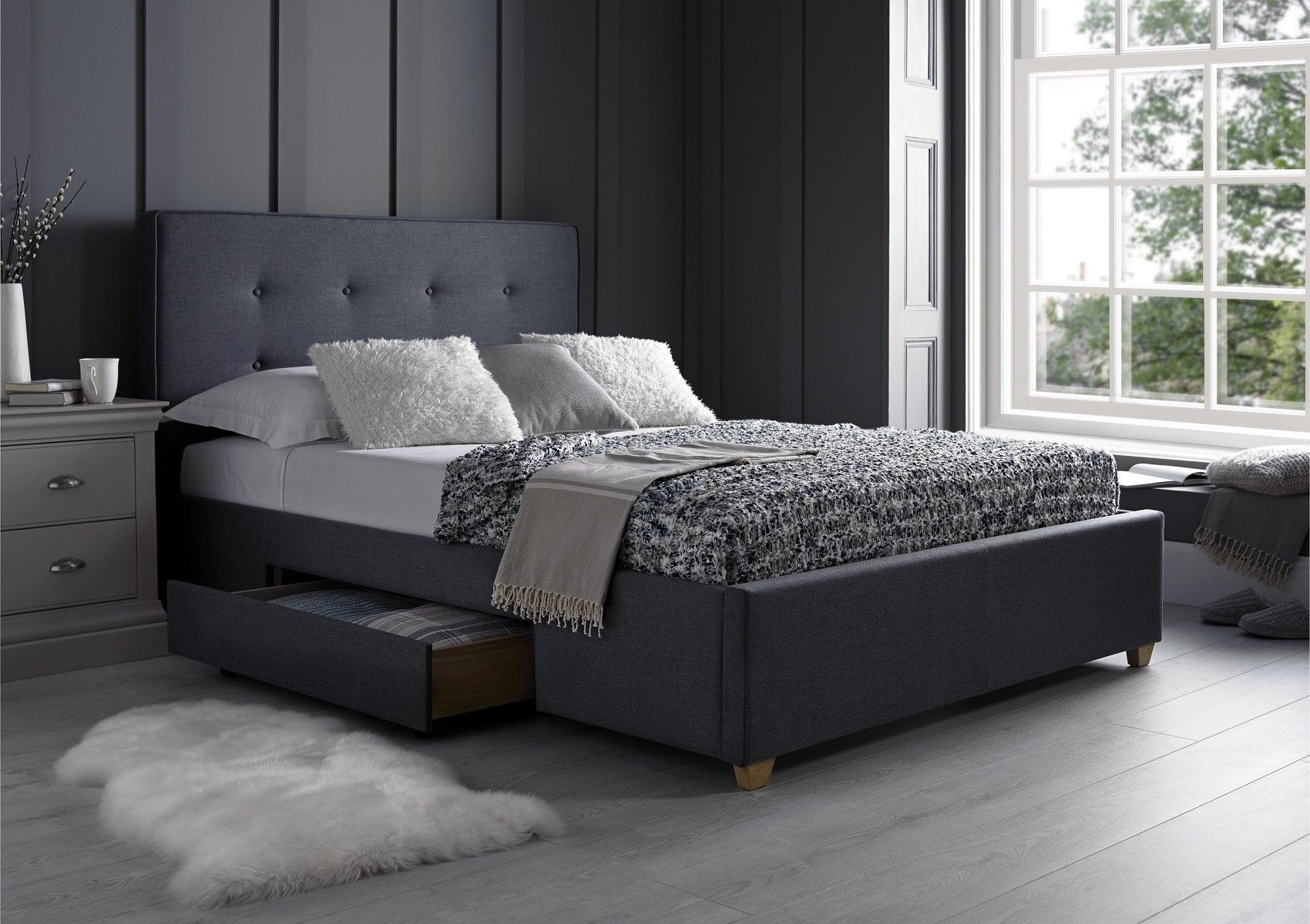 Milano Grey 2 Drawer In 2019 Chez Moi Bed Storage