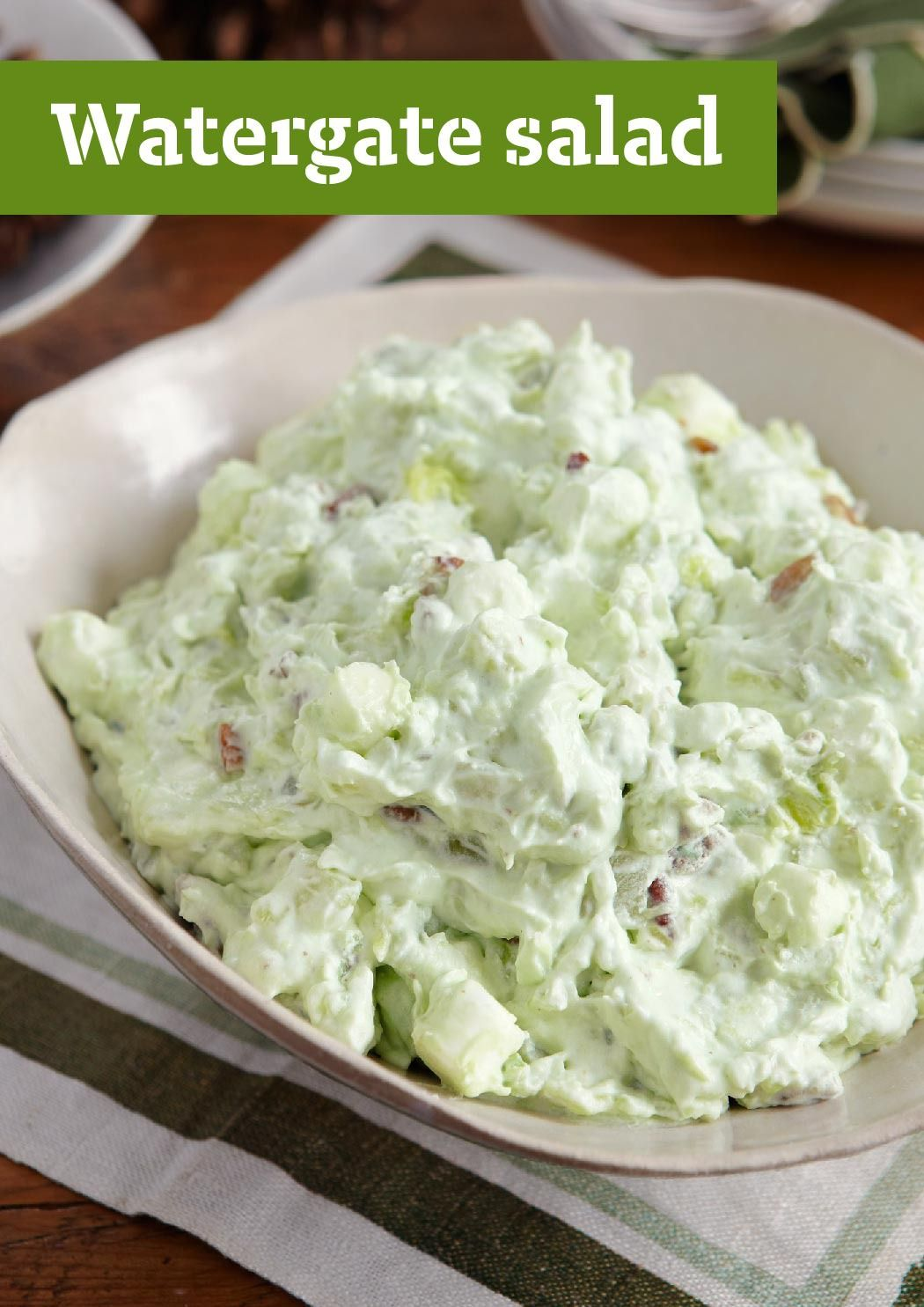 watergate salad rich with crushed pineapple pudding