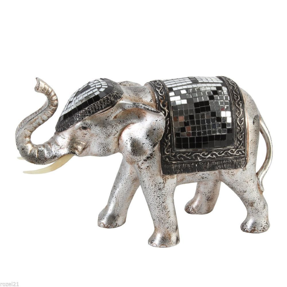 decorative pewter finish mirror tile effect elephant figurine