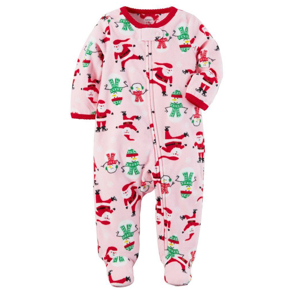 0efa2ccf1d7e Baby Girl Carter s Santa   Snowmen Fleece Footed Pajamas