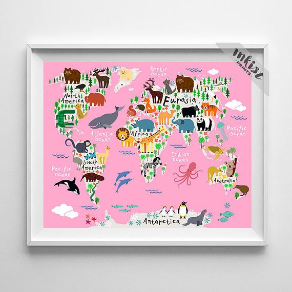 Animal print christmas presents world map poster world map art animal print christmas presents world map poster world map art animal nursery gumiabroncs Images