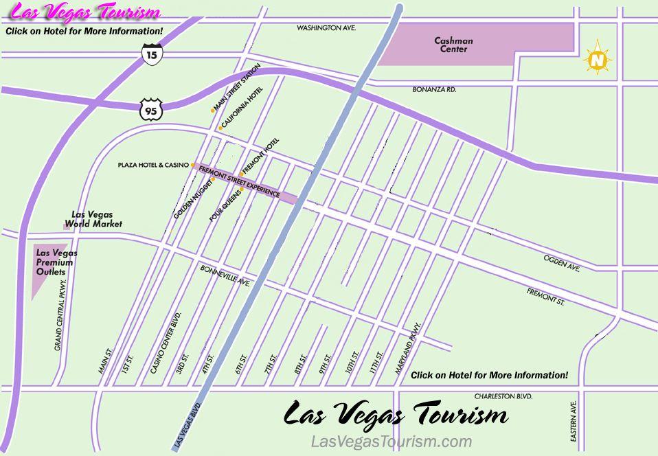 Las Vegas Downtown Map Travel Places to go Pinterest
