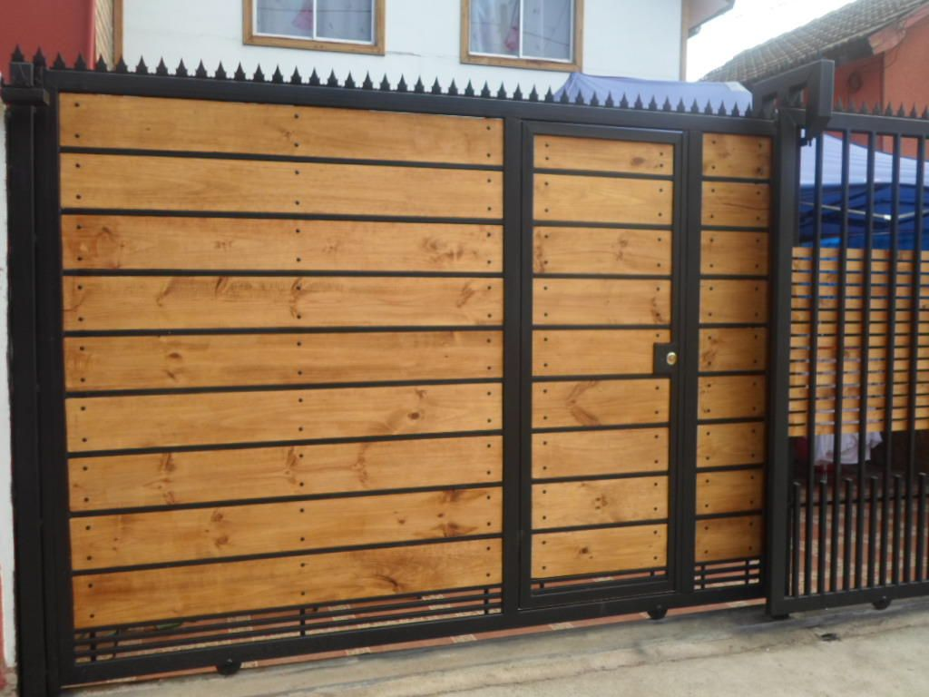 Reja de fierro y madera horizontal rejas pinterest for Rejas y portones