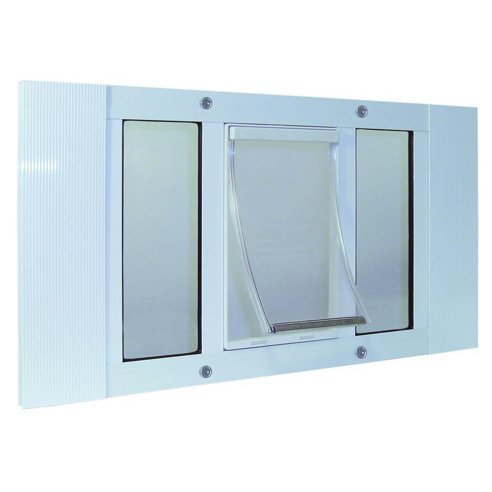 Ideal Pet 7 In X 11 25 In Medium White Original Pet And Dog Door Insert For 27 In To 32 In Wide Aluminum Sash Window Window Pet Door Pet Door Dog Door Insert