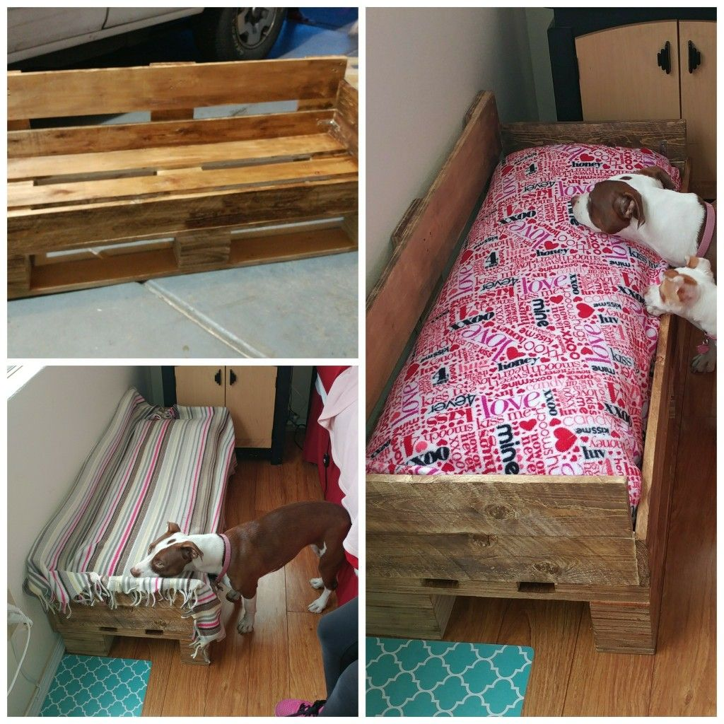 dog bed made out of pallets and a body pillow my projects
