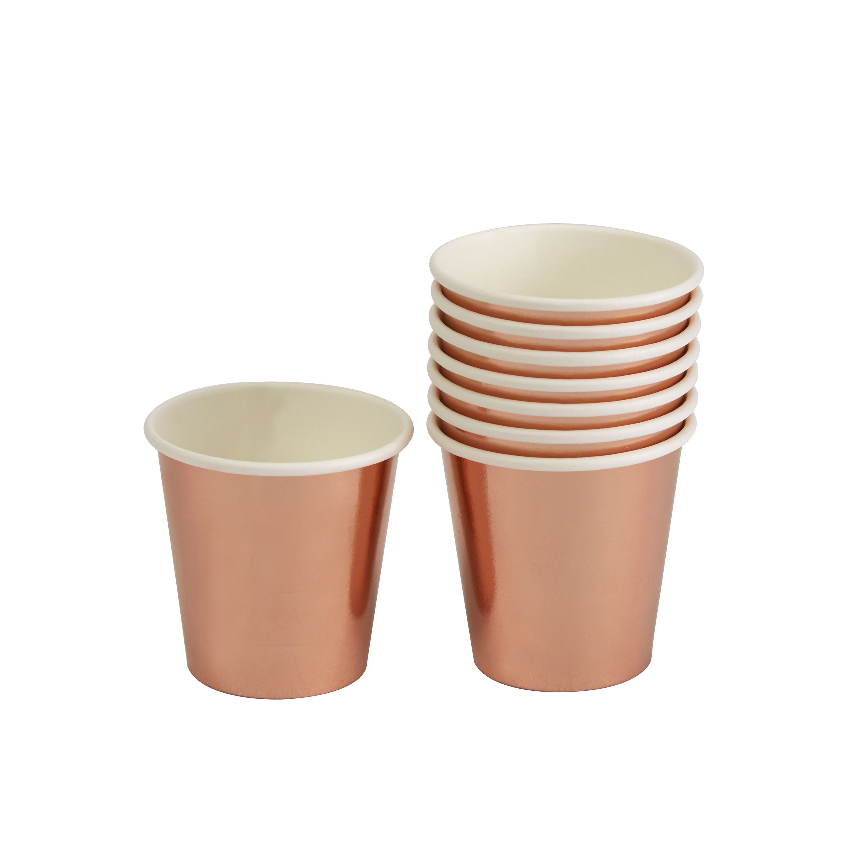 These funky shot cups in shiny rose gold foil will inject