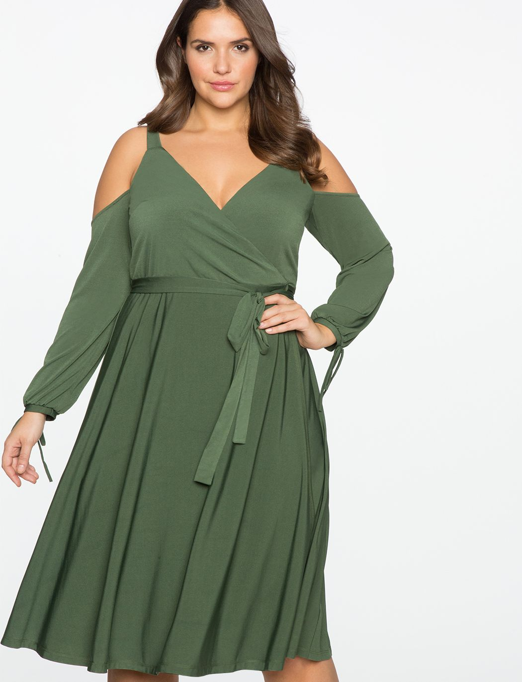 35fb08f64e5 Cold Shoulder Wrap Dress OLIVE