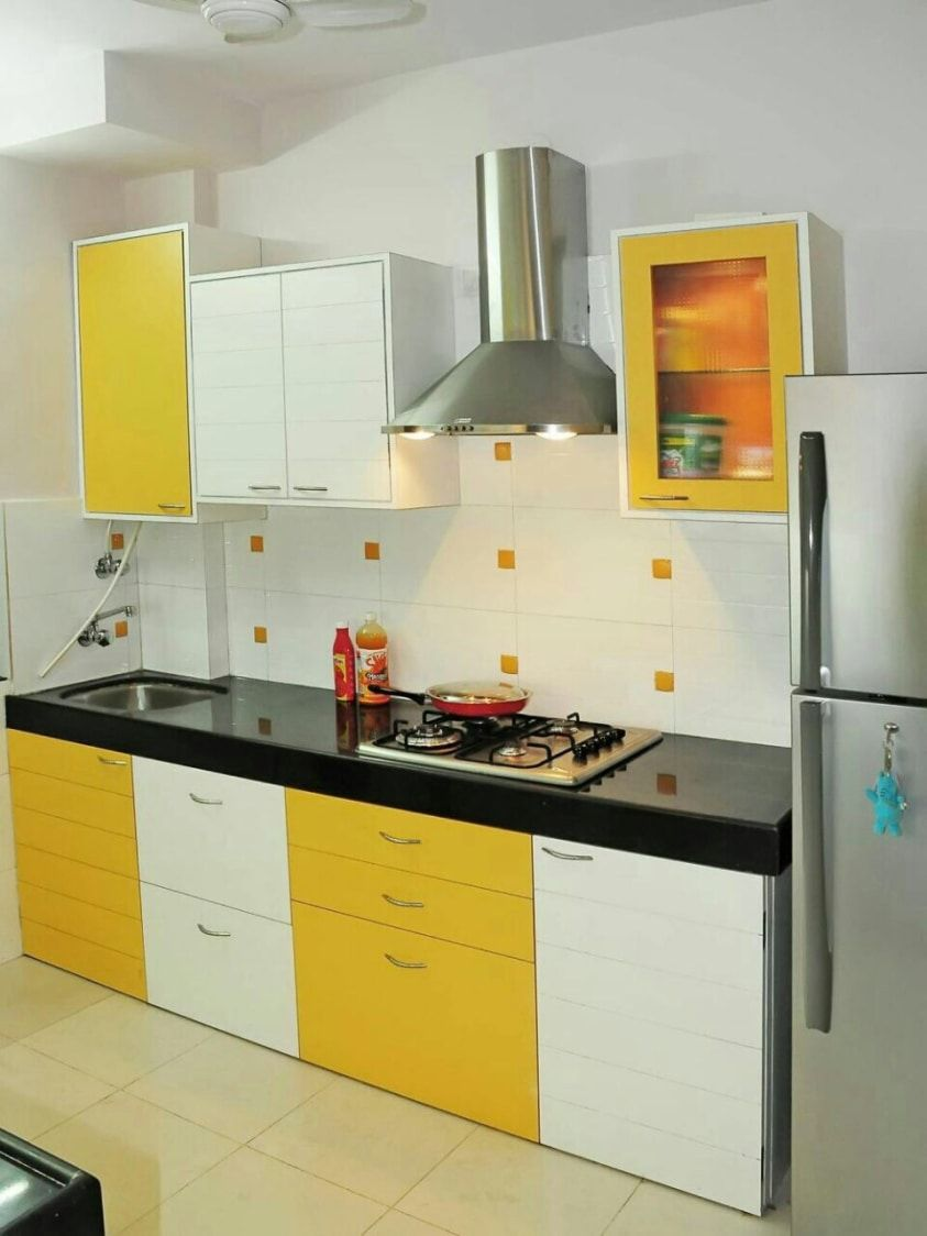 White And Yellow Go So Well In This Modern Kitchen Simple Ideas