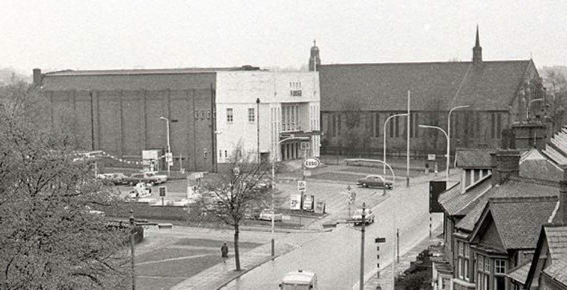 Fosse road north 1969 fosse cinema and st Augustine's church
