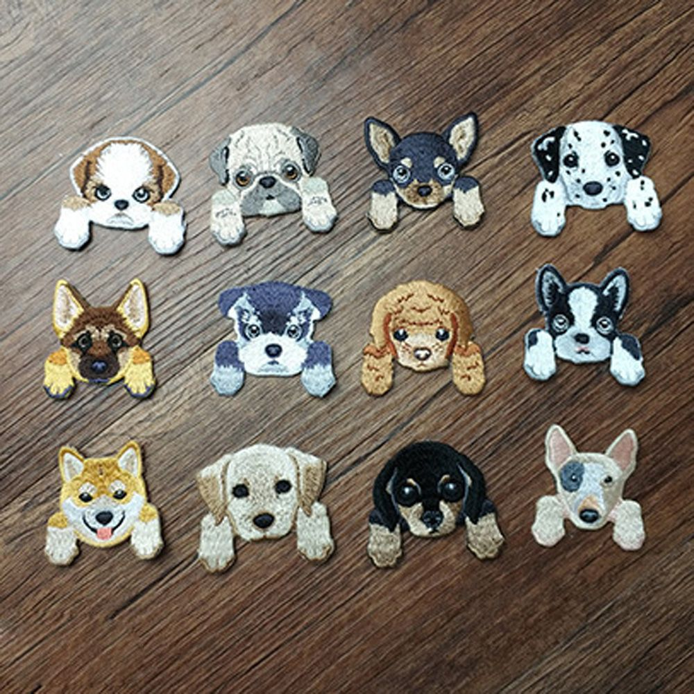 6X Dog Embroidered Patch Iron On Sewing Applique Badge Clothes Stickers Craft