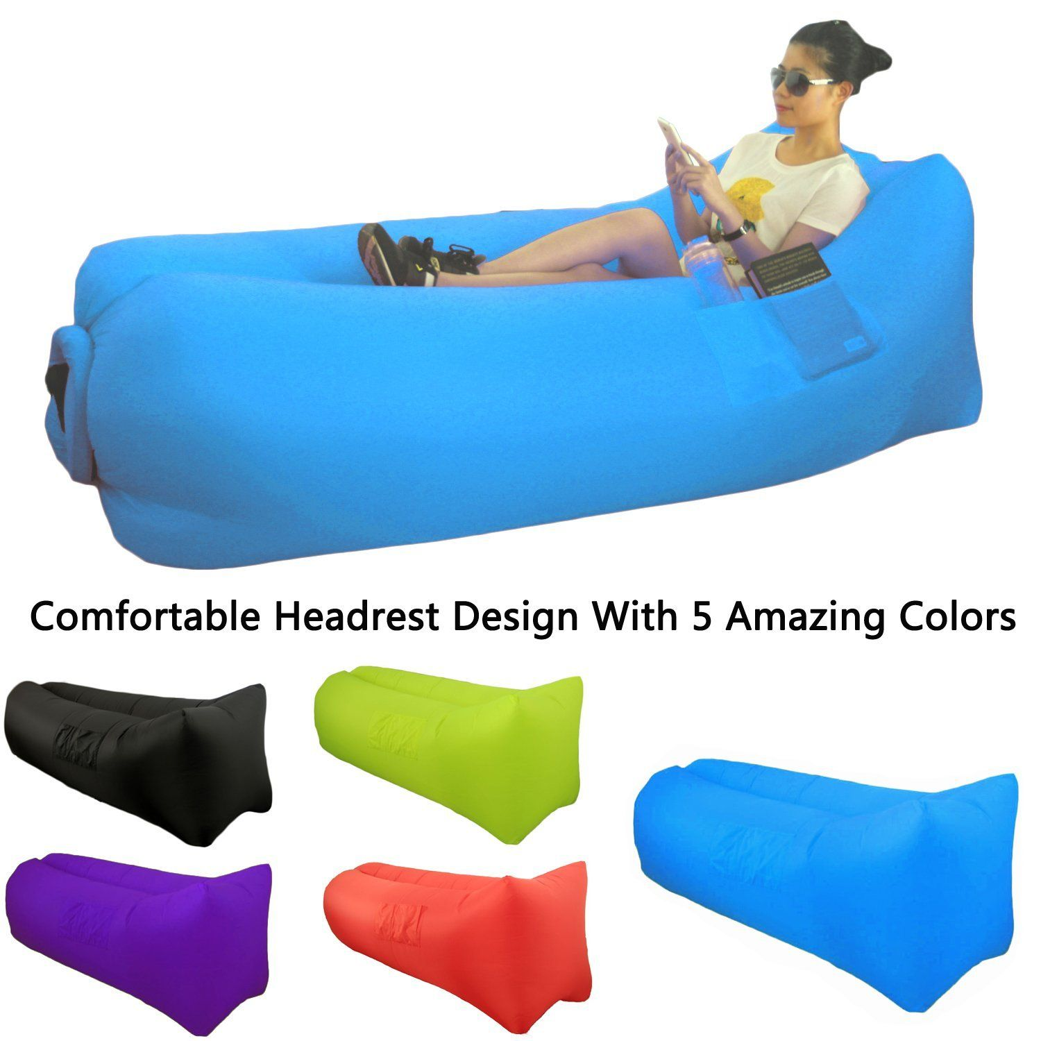 great home inflatable lounger air sofa with comfortable headrest
