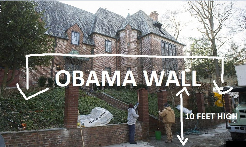 Image result for obama wall around house
