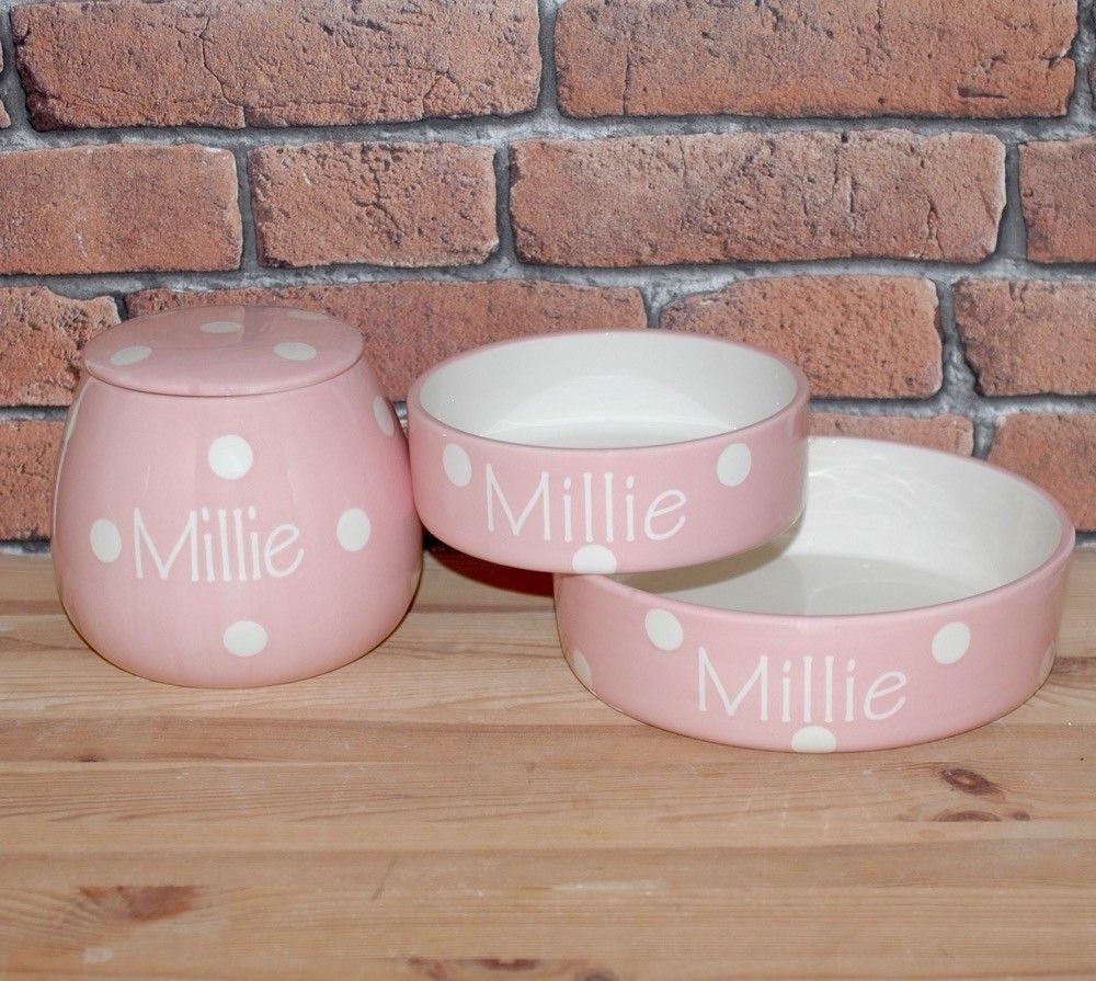 Personalized Ceramic Polka Dots Dog Bowls Treat Jars