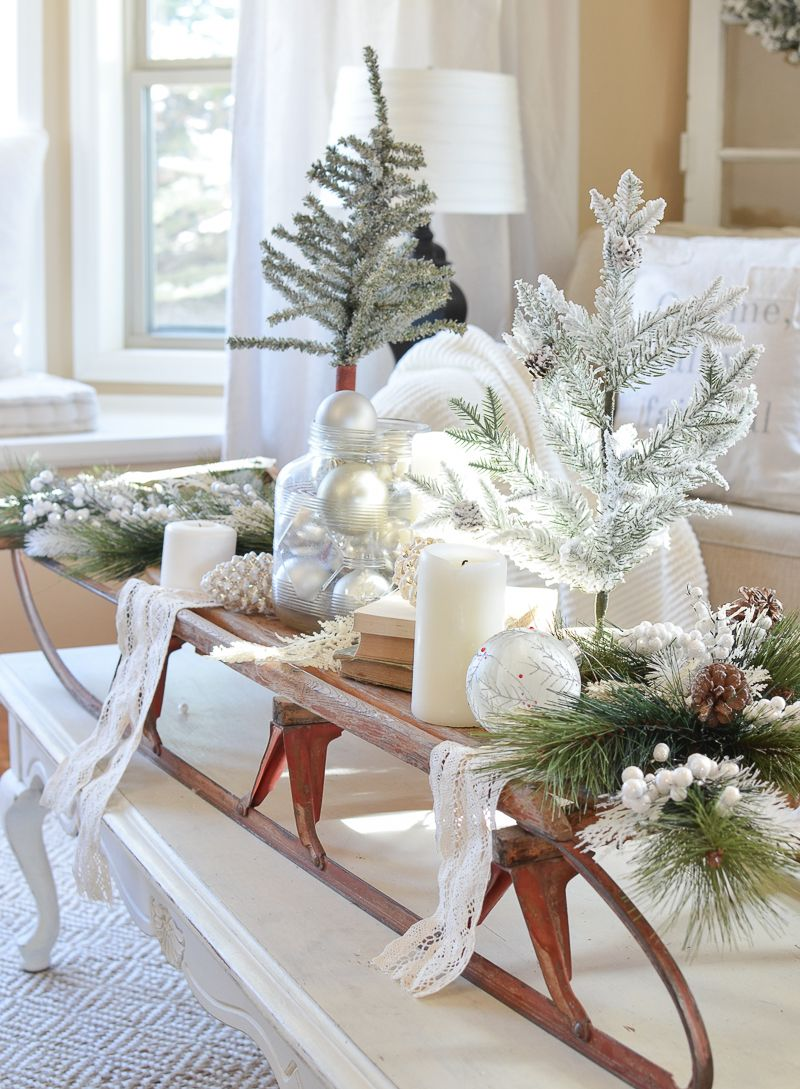 Neutral Farmhouse Christmas Decor In The Front Room Christmas Coffee Table Decor Coffee Table Centerpieces Farmhouse Table Centerpieces