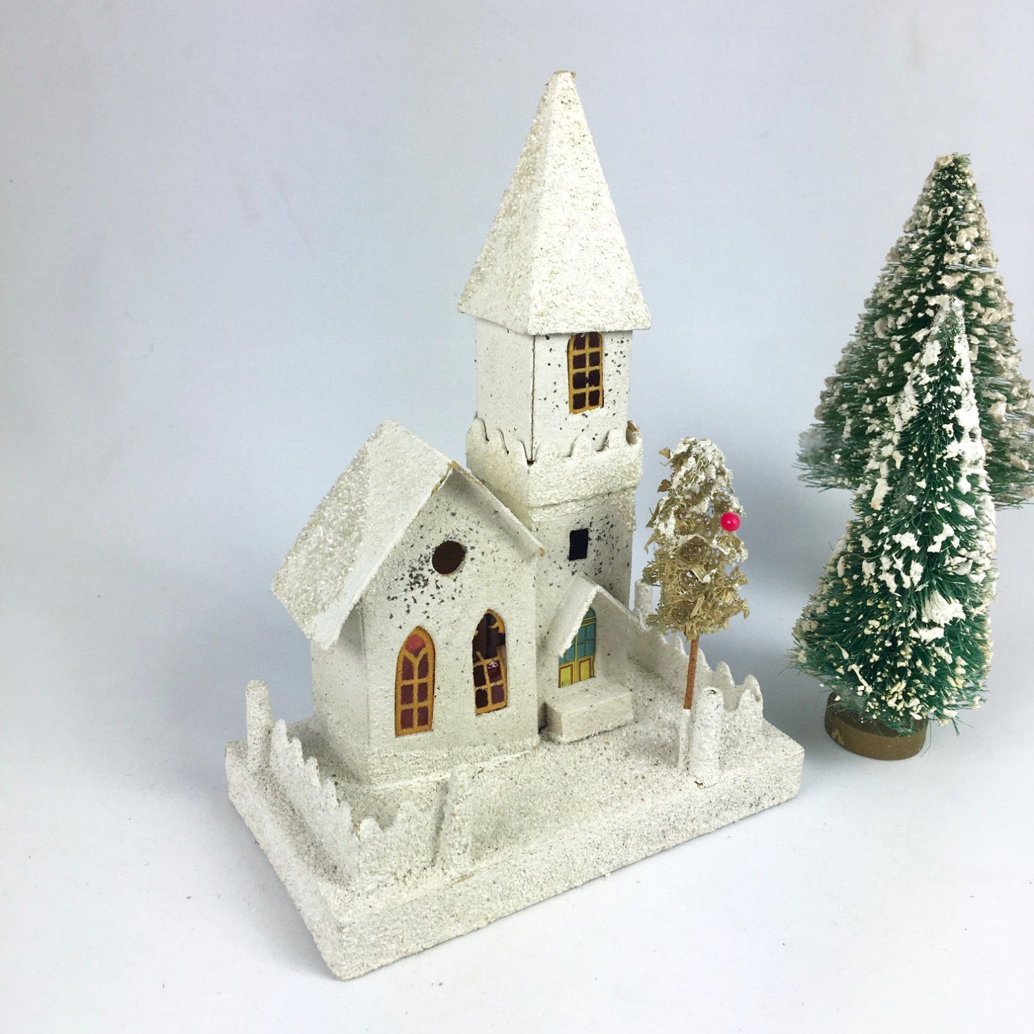 Vintage putz church with steeple and mica 1940s Christmas village