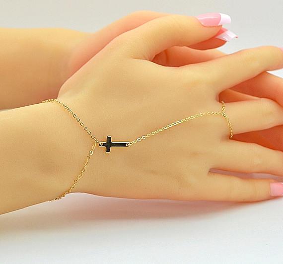 Dainty Cross Bracelet Finger Bracelet Chain Bracelet Ring