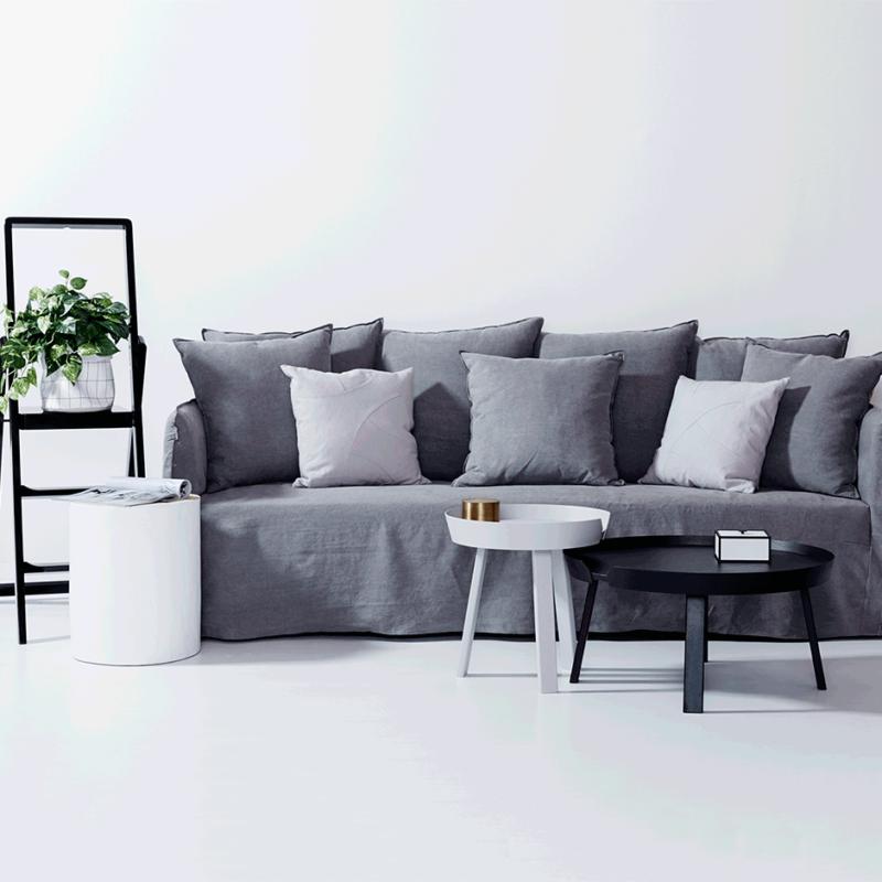 Modern Designer Bronte Ash Grey Italian Linen Sofa Removable Slip