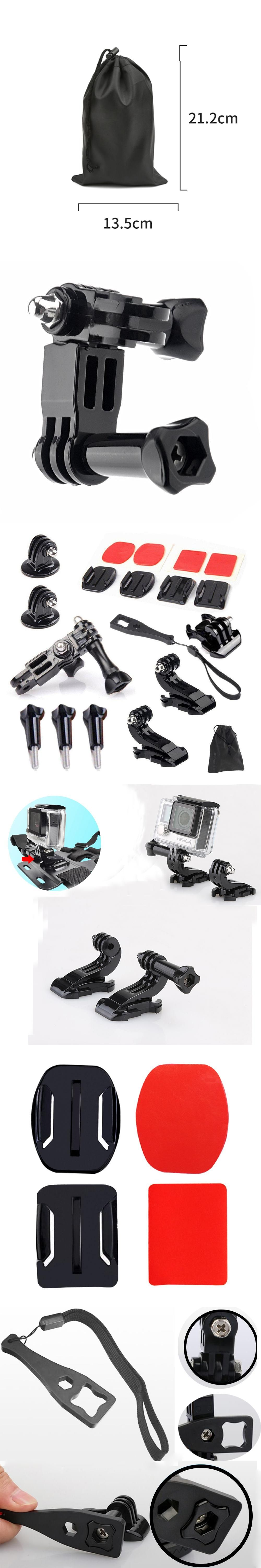 Gopro Accessories Set Kits Quick Base Adapter 3 Way Arm Tripod Mount for SJCAM SJ4000 SJ6000