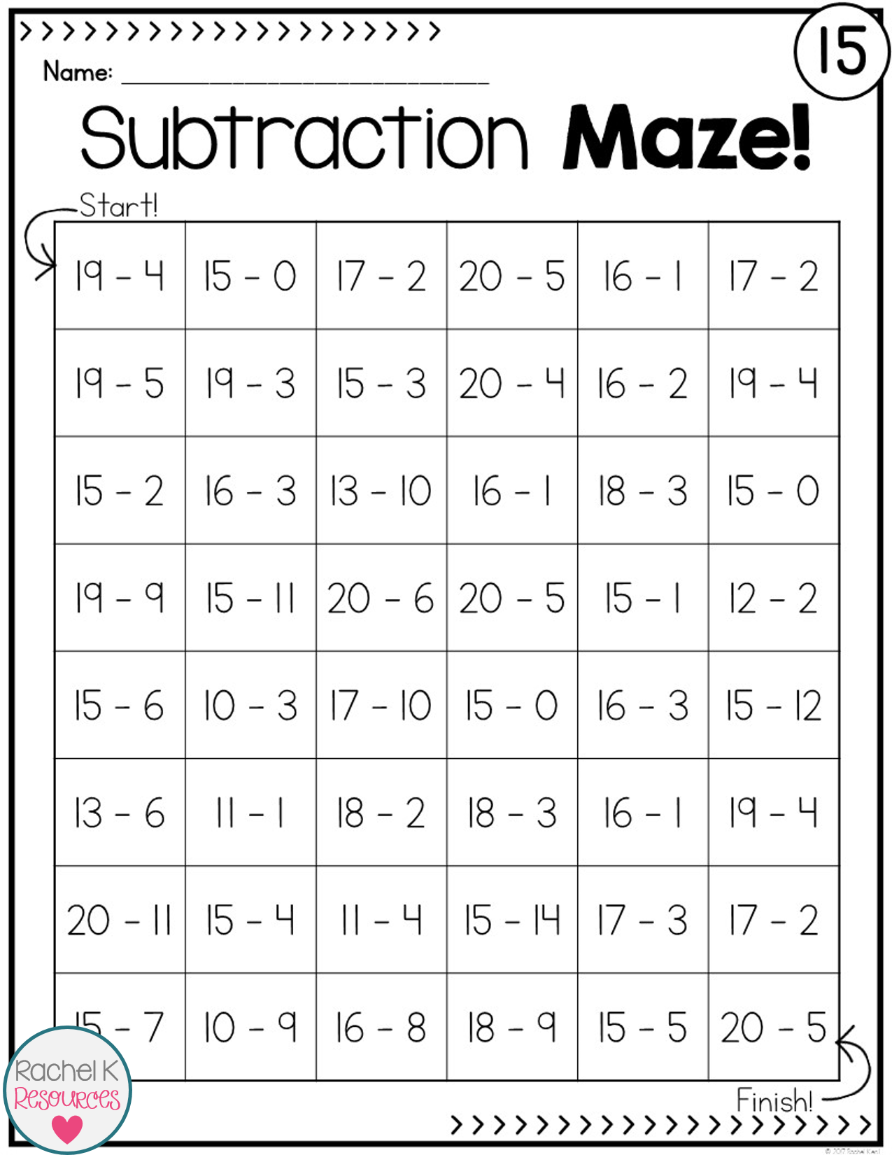 Subtraction Practice Mazes Math subtraction, Fun math