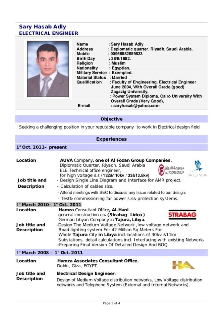 Electrical Engineer Resume Format Image resume Pinterest - resume format for electrical engineer