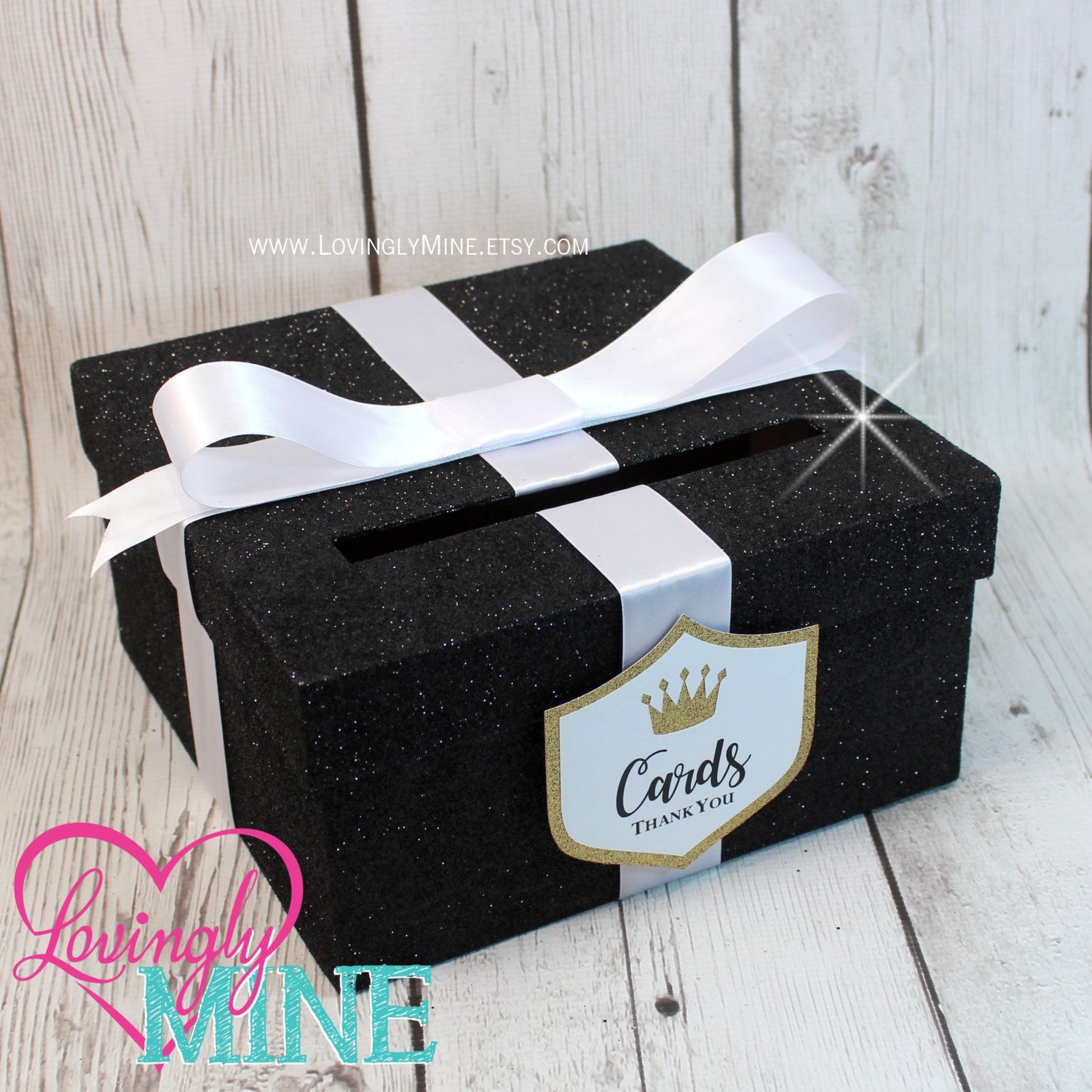 Card Box In Fine Glitter Black White Gold With Matching Prince