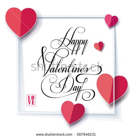 Happy Valentines Day Greeting Card Vector Template Romantic Poster With Valentine S Day Greeting Cards Valentines Card Message Valentine S Day Card Messages