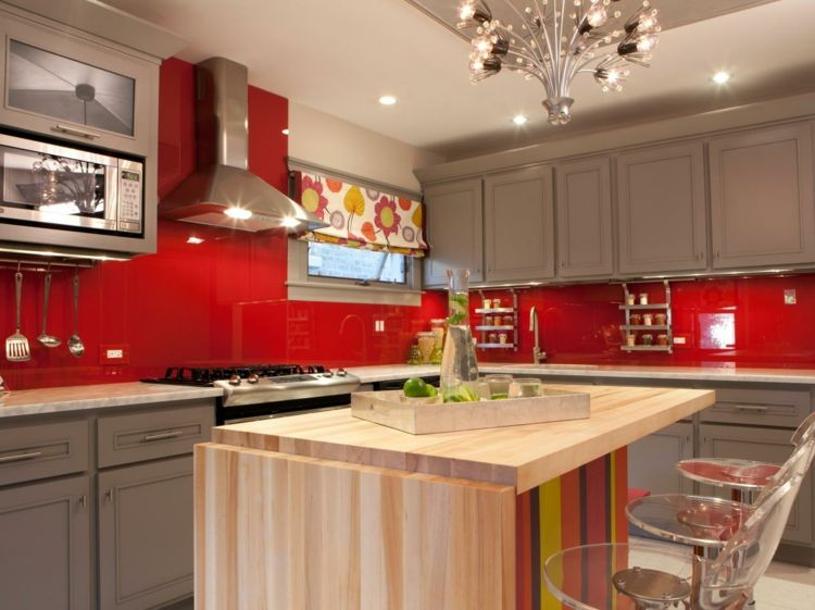 Cuisine rouge et grise 25 belles ides dinspiration  kitchen ideas  Kitchen colors Kitchen